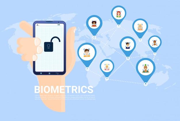 バイオメトリクススキャンの概念手持ち株スマートフォンと世界地図上の背景の顔認識 Premiumベクター