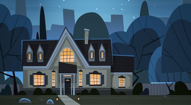 Дом строительство ночной вид пригород большого города Premium векторы