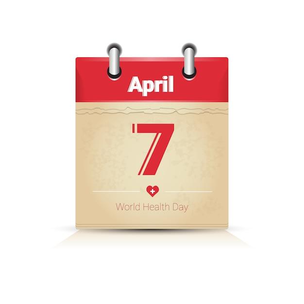 カレンダーページ健康世界の日グローバルホリデー Premiumベクター