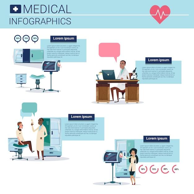 コピースペースを持つ健康医学インフォグラフィック情報バナー Premiumベクター
