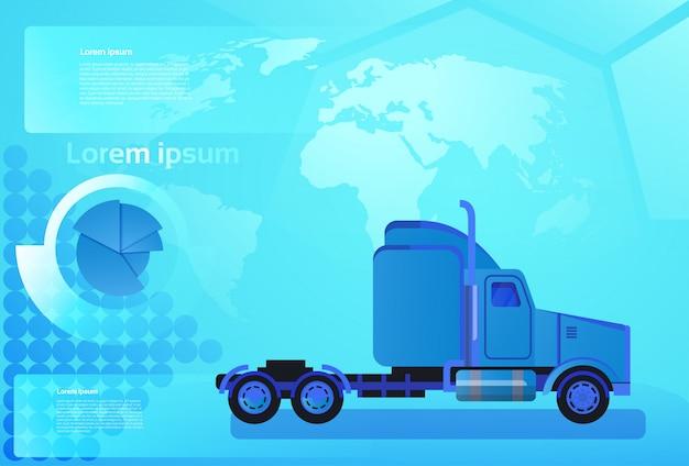 Грузовой автомобиль с прицепом на карте мира концепция доставки и доставки по всему миру Premium векторы