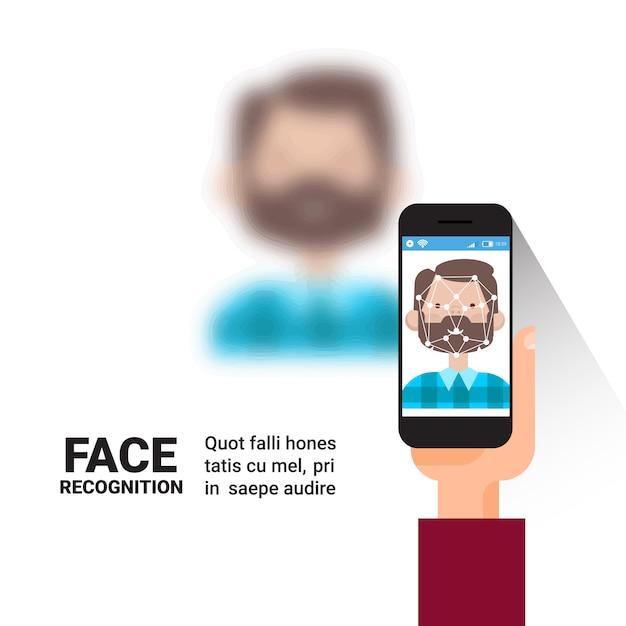 手持ち株スマートフォンスキャン男の顔現代の識別システムアクセス制御技術バイオメトリック認識コンセプト Premiumベクター