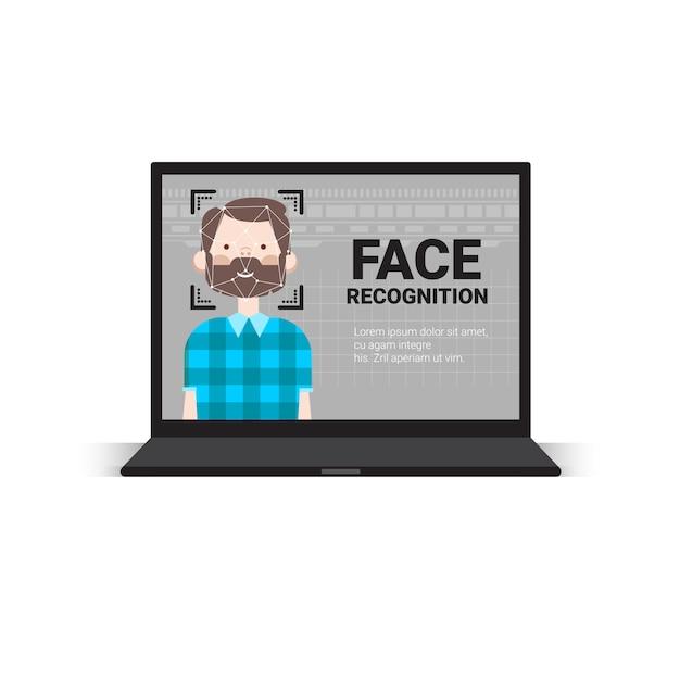 Сканирование портативного компьютера пользователь технология распознавания мужского лица система контроля доступа концепция биометрического распознавания Premium векторы