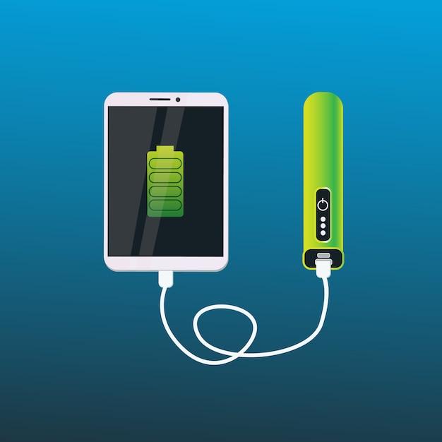 デジタルタブレットの携帯用移動式電池の概念を満たす力銀行 Premiumベクター