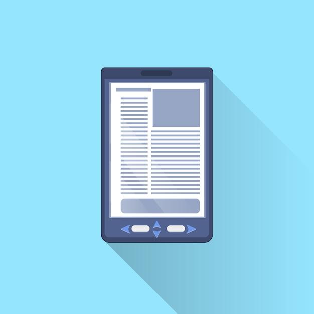 青色の背景にデジタルタブレットコンピューター電子ブックアイコン Premiumベクター