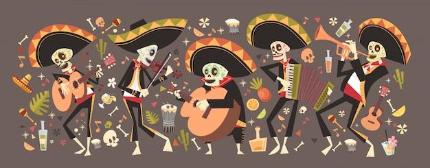 伝統的なメキシコのハロウィーンディアデロスムエルトスホリデーパーティーの装飾バナーの招待状の日 Premiumベクター