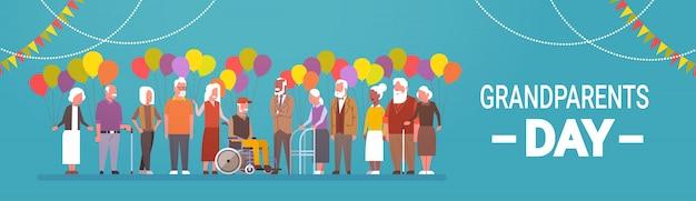 幸せな祖父母の日グリーティングカードバナーミックスレースグループの老人 Premiumベクター
