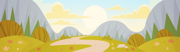 山脈春風景国道自然の背景 Premiumベクター
