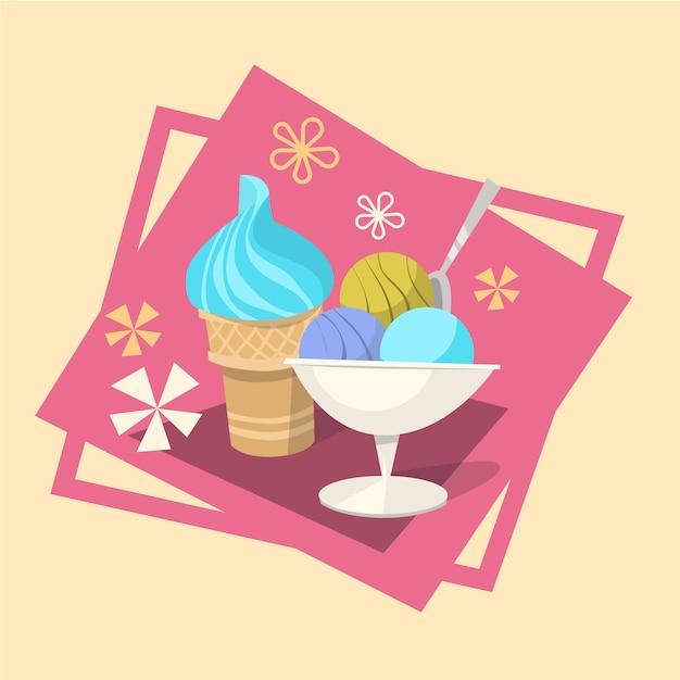 Мороженое лето холодный десерт значок Premium векторы
