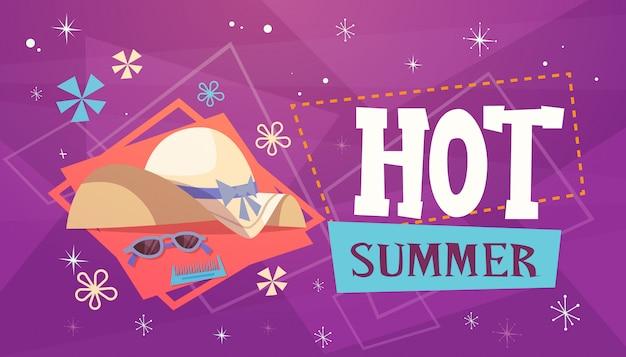 暑い夏の休暇海旅行レトロバナーシーサイドホリデー Premiumベクター