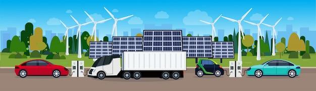 Электростанция с зарядными устройствами для ветряных турбин и батарей для солнечных батарей экологичный концепт электромобиля Premium векторы