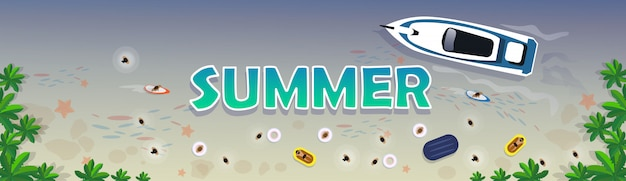 サマービーチバケーションセットサンドトロピカルホリデーバナー Premiumベクター