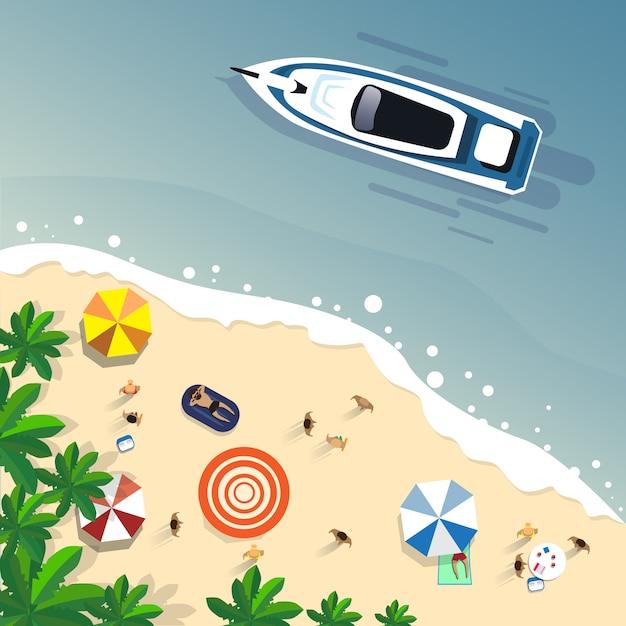 サマービーチバケーションセットサンドトロピカルアイランドホリデーバナー Premiumベクター