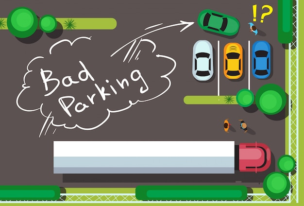 悪い市駐車場ブロック車コンセプトトップアングル Premiumベクター