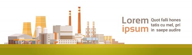 工場建物自然汚染工場パイプ廃棄物バナー Premiumベクター