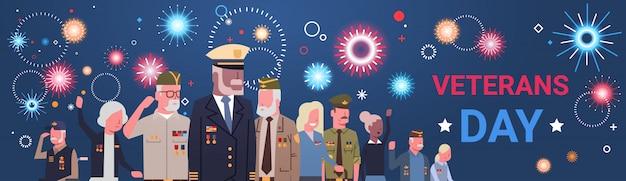 退役軍人のグループとの退役軍人の日のお祝い国立アメリカの休日バナー Premiumベクター