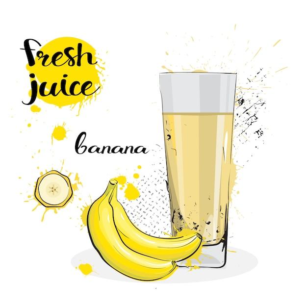 バナナジュース新鮮な手描きの水彩画の果物と白い背景の上のガラス Premiumベクター
