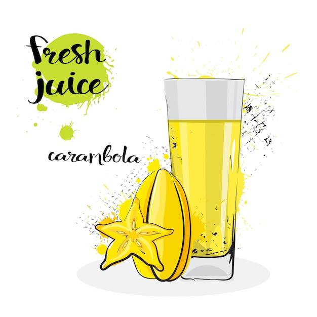 Карамбола сок свежие рисованной акварель фрукты и стекло на белом фоне Premium векторы