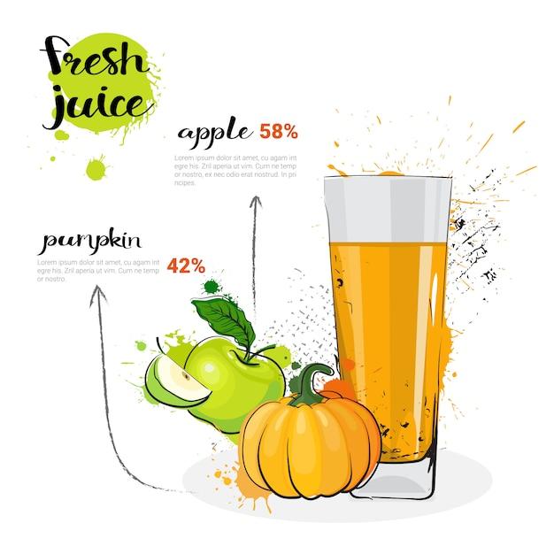 Тыквенный яблочный микс коктейль из свежевыжатого сока рисованной акварель стекла на белом фоне Premium векторы