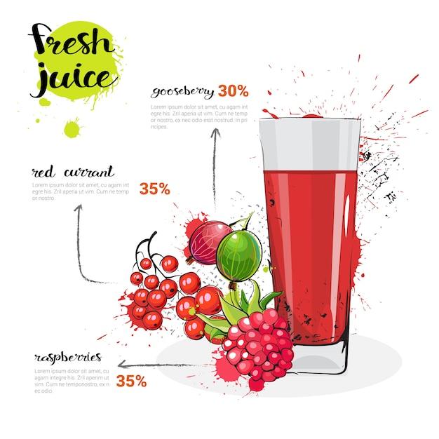 Ягодный микс коктейль из свежевыжатого сока рисованной акварельные фрукты и стакан на белом фоне Premium векторы