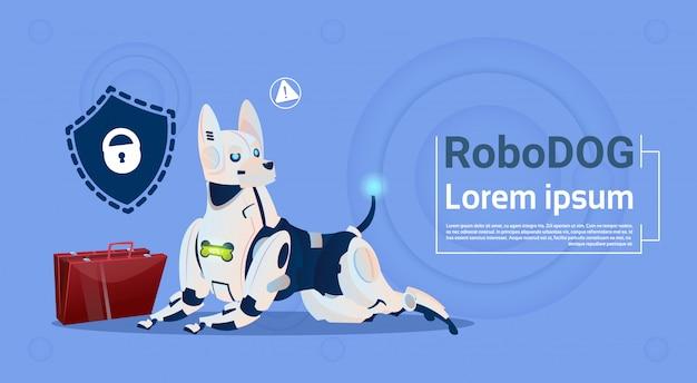 ロボット犬保護データかわいい家畜データベース安全システム現代のロボットペット人工知能概念 Premiumベクター