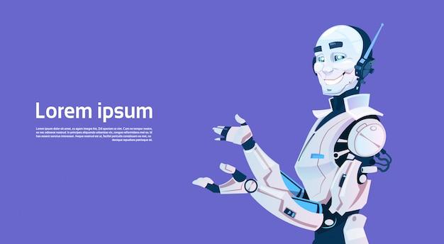 Современный робот, футуристический механизм искусственного интеллекта Premium векторы
