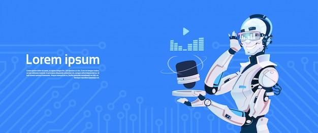 現代のロボットは音楽ラジオを聴く、未来の人工知能メカニズム技術 Premiumベクター
