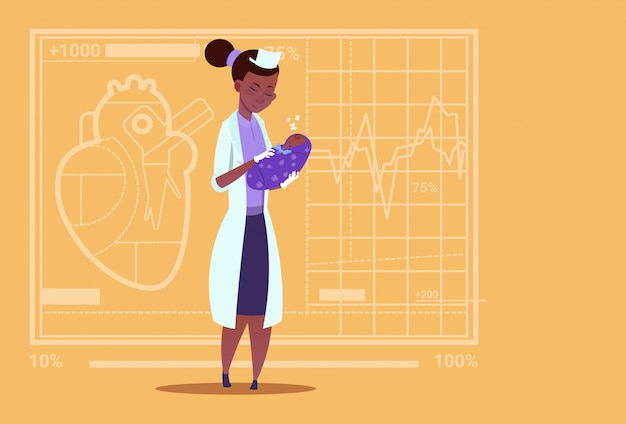 女医ホールド生まれたばかりの赤ちゃんの男の子医療産科医院アフリカ系アメリカ人労働者病院 Premiumベクター