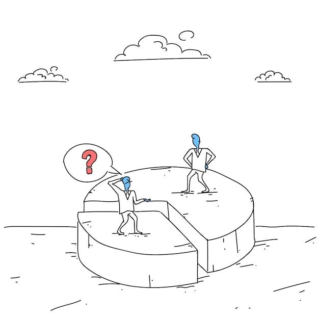 Два бизнесменов на круговой диаграмме получения неравенства акций, концепция успеха конкурса бизнесменов Premium векторы