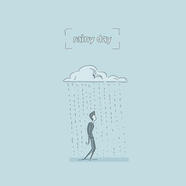 雨雲の下で立っているビジネスマン雨の日問題の概念 Premiumベクター