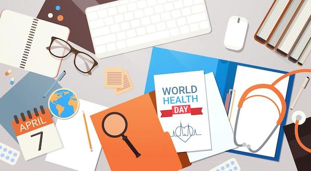 Врач на рабочем месте вид сверху всемирный день здоровья концепция Premium векторы
