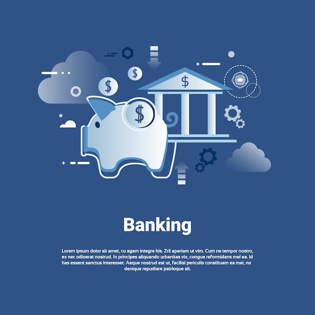 Банковский шаблон веб-баннер с копией пространства концепция экономии денег Premium векторы
