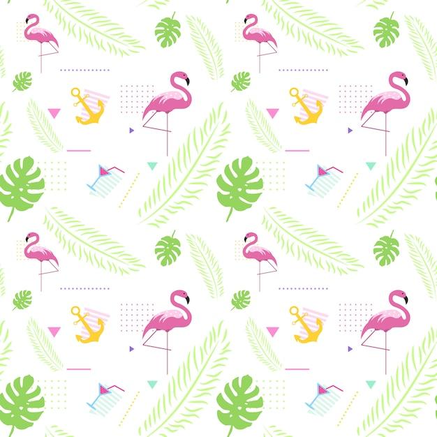 カラフルな熱帯飾りと夏のシームレスパターン背景スタイル Premiumベクター