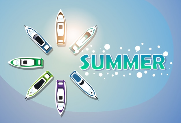 Летние каникулы набор яхт тропический праздник баннер Premium векторы