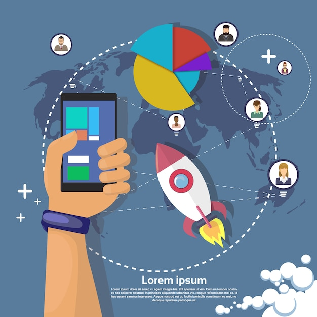 手持ち株携帯スマートフォン現代ガジェット Premiumベクター