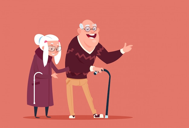 Пара пожилых людей, идущих с палкой современные дедушка и бабушка во всю длину Premium векторы
