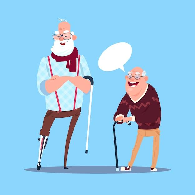 年配の男性人の棒現代祖父の全身チャットのコミュニケーション Premiumベクター