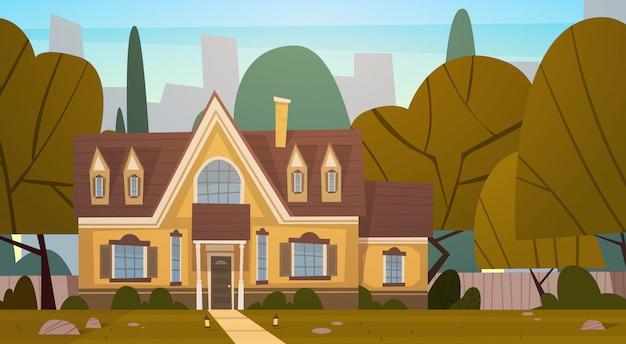 Жилой дом на окраине большого города летом, коттеджная недвижимость Premium векторы