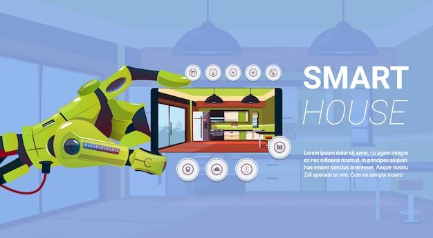 Роботизированная рука держит смартфон с интерфейсом управления умным домом, современной технологией концепции домашней автоматизации Premium векторы
