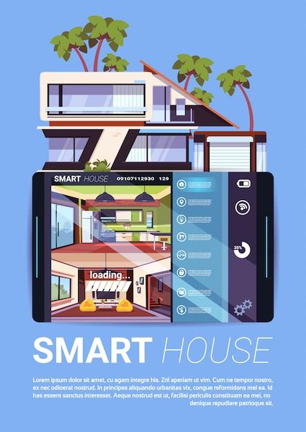 Умный дом интерфейс на цифровом планшете, современная технология управления домом и концепция безопасности Premium векторы