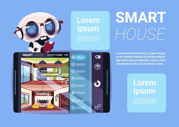 Умный дом интерфейс на цифровом планшете, современная технология концепции управления домом Premium векторы