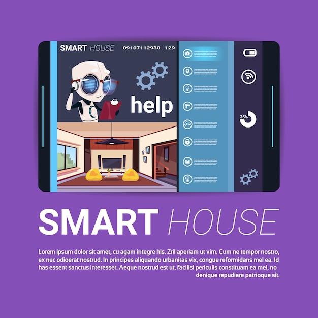 Цифровой планшет с интерфейсом управления умным домом, современной технологией концепции домашней автоматизации Premium векторы