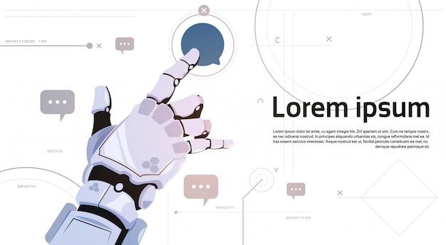 Роботизированная связь робота пузыря касания руки и концепция искусственного интеллекта Premium векторы
