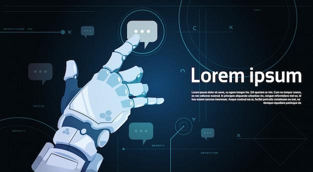 ロボットハンドタッチチャットバブルロボットコミュニケーションと人工知能の概念 Premiumベクター