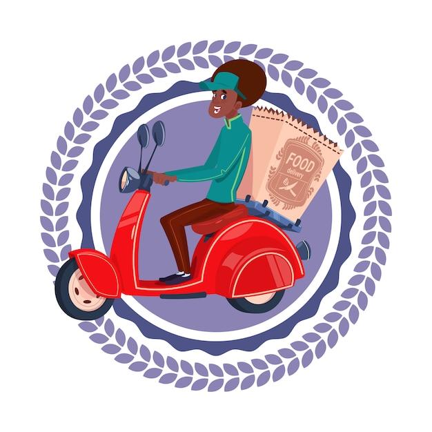 高速配信サービスアイコン分離されたアフリカ系アメリカ人女性はレトロなスクーターテンプレートロゴに食料品を配達する Premiumベクター