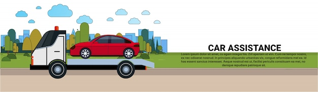 Концепция помощи автомобилю с придорожным сервисом буксировка автомобиля эвакуация шаблон горизонтального баннера Premium векторы