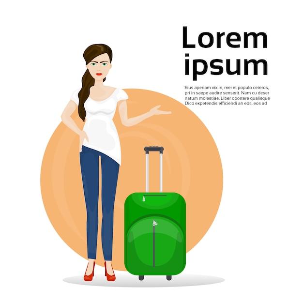 荷物のスーツケースを持つ少女。旅行と観光の概念 Premiumベクター