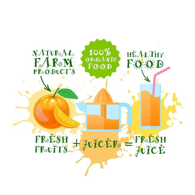 Свежевыжатые соки апельсиновая соковыжималка натуральные пищевые и сельскохозяйственные продукты концепция всплеск краски Premium векторы