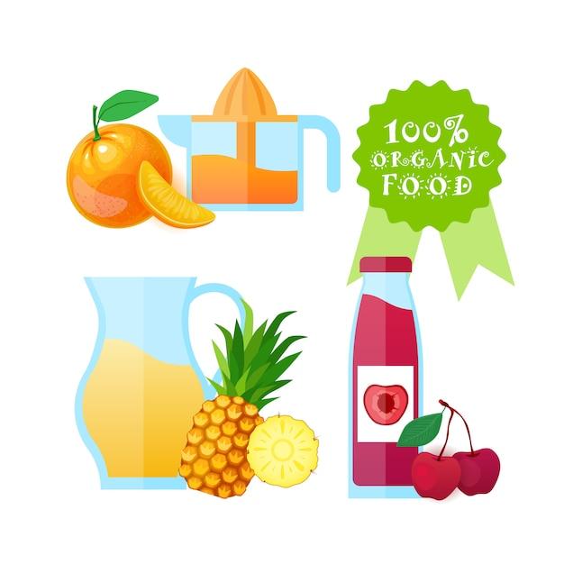 Органические продукты питания логотип изолированный свежий фруктовый сок натуральные сельскохозяйственные продукты концепция Premium векторы