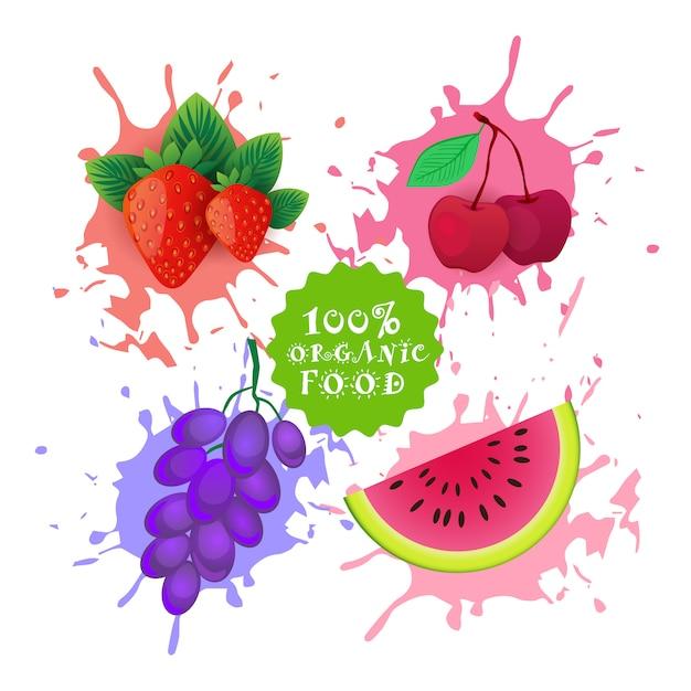 Набор фруктов над краской всплеск свежевыжатый сок логотип натуральные продукты питания фермерские продукты концепция Premium векторы